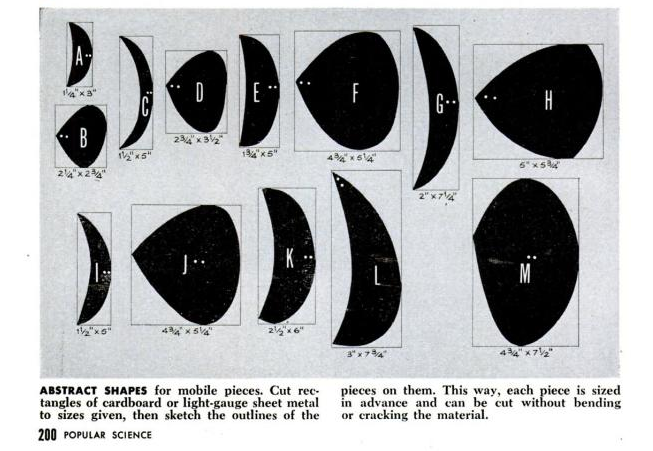 To make a more Calder-esque mobile, check out these directions from a 1954 issue of Popular Science.