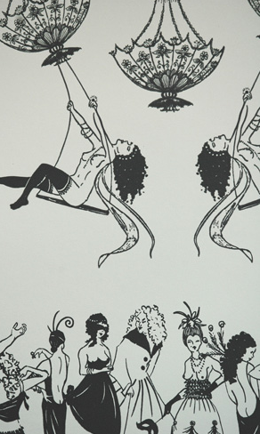 Nude women are swinging from chandeliers above a topless party in this Erotica Wallpaper by Louise Body. Looks like Mardi Gras!
