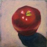 An Apple a Day ($90) is a lovely still life oil painting of a red apple painted on a 12 x 12 inch stretched canvas. The question remains, however: do teachers ever actually want to receive an apple?