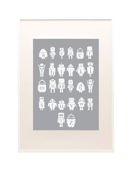 The geeks in your life will be delighted by this Robot Alphabet Poster ($40).