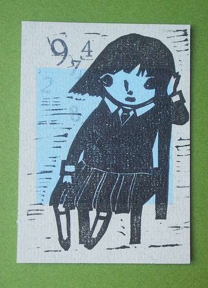 Melancholic School Girl  ($10) is a super cute pulled original linocut.