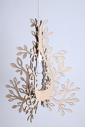 Create a woodsy accent piece in your home with the Thru the Trees Chandelier (on sale for $29.99, was $48.00). Made from two pieces of MDF that are cut out to look like a candle chandelier, it requires minimal assembly.