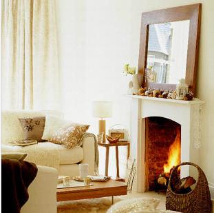 Natural elements such as woven baskets are an essential Fall accessory for your fireplace.  Source