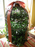 "Filled with ivy and a ""bird"" made of moss (hard to see), this birdcage is a charming tabletop centerpiece. Source: Flickr User Brian Sawyer"