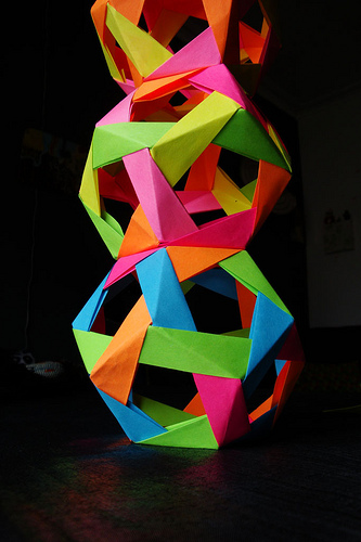 And one artist created an origami-style sculpture from Post-Its, proving that the medium needn't only remain on the wall. Source: Flickr User Sarah_L