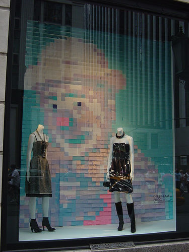 Christian Dior created an image of a clown for a window display backdrop. Source: Flickr User misocrazy