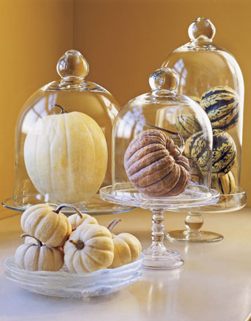 Use bell jars to showcase prize pumpkins.  Source