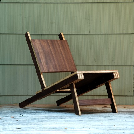 This Walnut Plywood Lounge Chair ($199) is crafted out  of a quarter sheet of high-quality walnut veneered plywood, and coated with a beautiful oil finish.