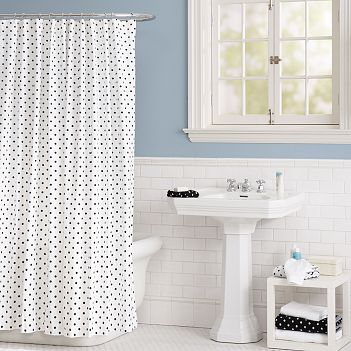 Get the look with the PBteen Polka Dottie Shower Curtain ($49).