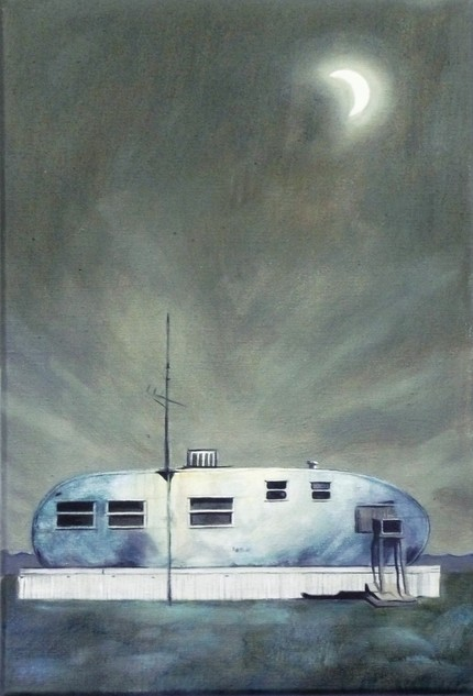 I love the stark landscape in this Trailer Painting ($300). It looks like the Airstream is floating out at sea.
