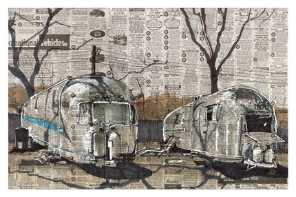 "Airstreams ($25) is a poster print of the pen and marker original ""Airstreams"" by Adam Ambro. The original work was created with newspaper, layers of pen, marker, and whatever else happened to be within the artist's reach at the moment. I love the effect."