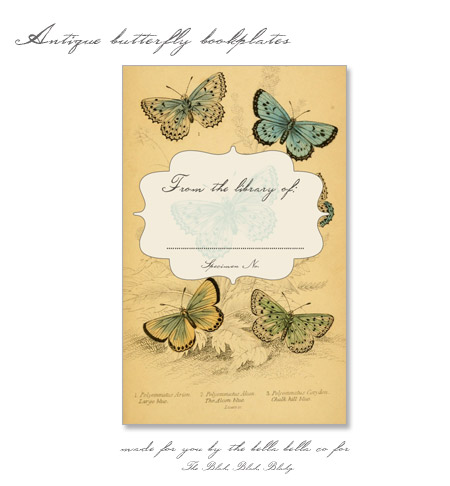 The Blah, Blah, Blahg has made this lovely antique butterfly bookplate for your downloading pleasure.