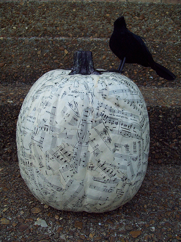 Here's another knifeless option: decoupage a pumpkin with sheet music, magazine images, or illustrations. Learn how to do it here.