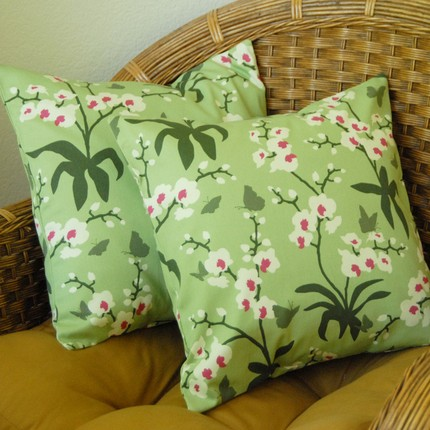 These Two Ginseng Orchid Pillow Covers ($32) made from Joel Dewberry fabric have a calm celadan color and modern Asian influence.