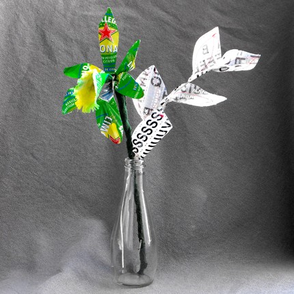 This Recycled Green Orchid Bouquet ($25), made from fabric, paper, tin, and textiles, is cheerful, contemporary, and eco-conscious.