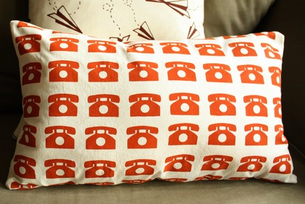 Toss some retro phone fun on your sofa with this handprinted Canvas Pillow ($42).