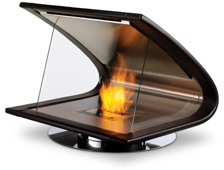 The Zeta Portable Ventless Fireplace (inquire for price) is made of timber, leather and stainless steel and sits on a brushed or polished stainless-steel swivel base. It burns denatured ethanol, an environmentally friendly, renewable biofuel.