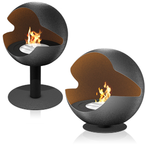 The Vauni Globe-Shaped Fireplace ($2808+) is a free-standing, chimney-free hearth that can be turned 360 degrees and is powered by an advanced ethanol burner.