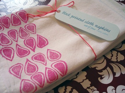 While I hope I never see pink rain drops in real life, I love them when they're blockprinted on these Cloth Napkins ($20 for a set of 4).