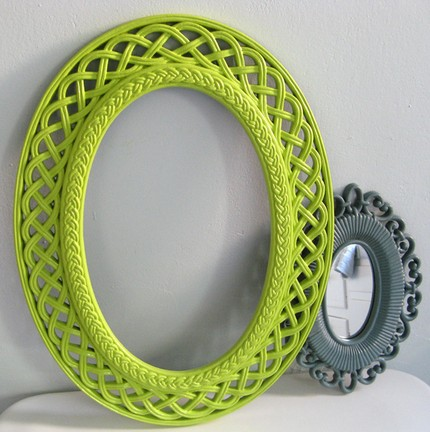 These Two Vintage Ornate Frames ($24) include one gray mirror and a lime frame which you could easily have a mirror cut for. Fun with pop art flair!