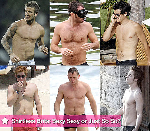 Extensive Photo Gallery of Shirtless British Men Including Robert Pattinson, David Beckham, Orlando Bloom, Prince Harry