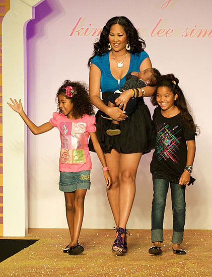 Kimora walks the runway with her children