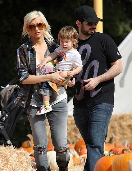 Christina takes her son to the pumpkin patch