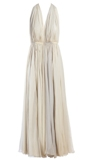 Grecian ivory evening gown with gathered halter top by Halston 1970s