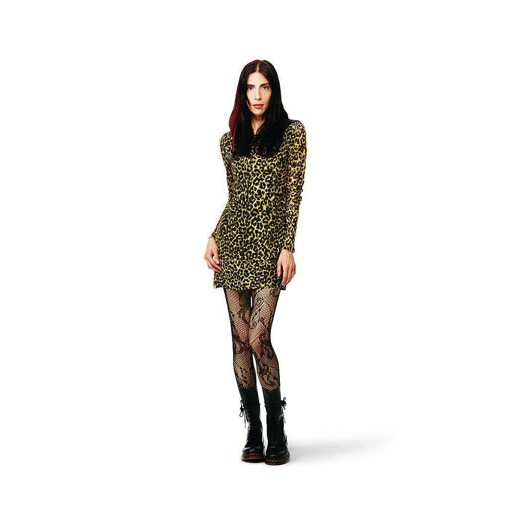 Lace Bow Dress in yellow leopard, $44.99 Lace Tights in black, $12.99