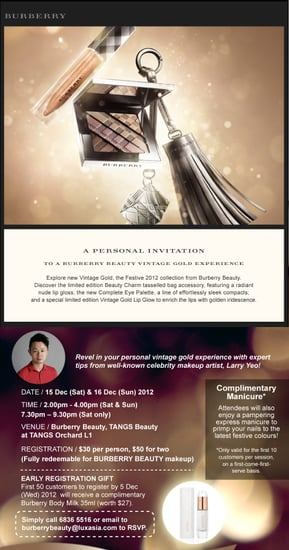 Burberry Beauty Vintage Gold Counter Party (15&16 Dec 2012)