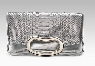 The Look For Less: Jalda Metallic Python Bean Clutch