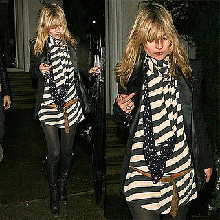 Kate Moss in an Oversized Blazer and Striped Dress