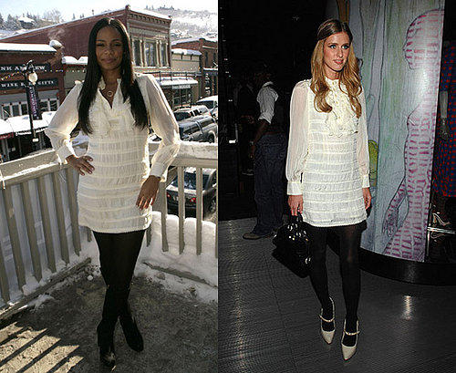 Nicky Hilton and Sanaa Lathan in Jenny Han Mini Tuxedo Dress