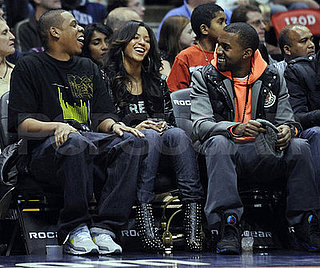 Beyonce, Jay-Z, and Kanye at the Nets vs. Sonics Game