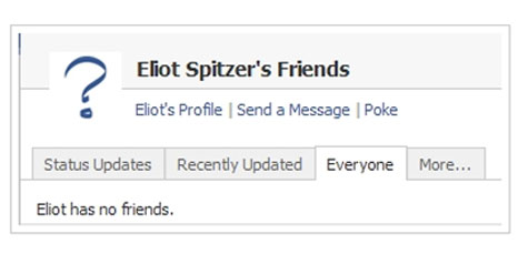 Eliot Spitzer, Friends: 0