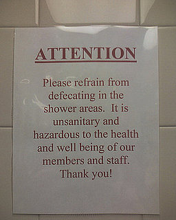 Gym Note Asks Patrons Not to Defecate in Shower