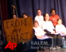 """Iron My Shirt!"" Protestor at Hillary Clinton Campaign Event"