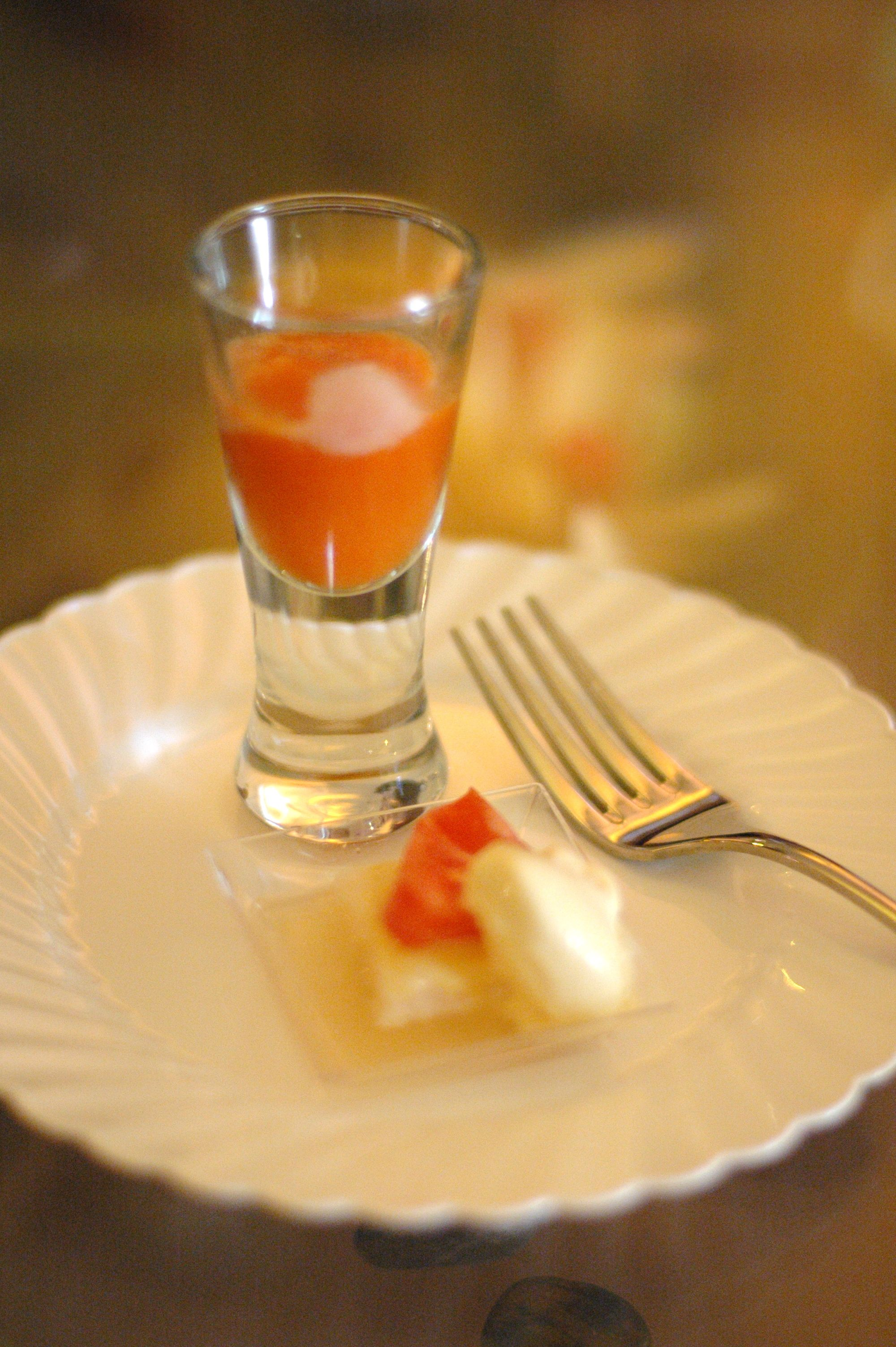 Joël Antunes created an amazing Tomato Sorbet Shooter with Salmon Sashami and Dijon Ice Cream