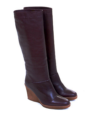 Refinery29 Shops :: Women :: Shoes :: Knee High Leather Wedge Boots in Wine