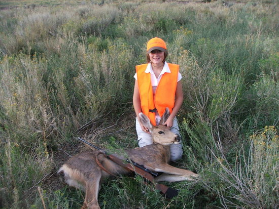 My daughter, first big game (doe)at 12.