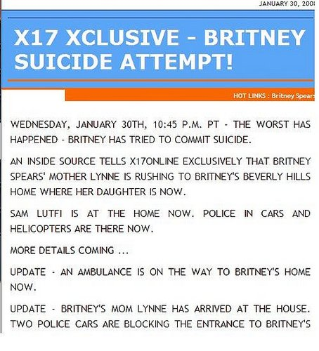 X17 Is Reporting That Britney Just Tried To End Her Life