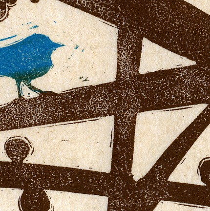 Blue Bird (original linocut)
