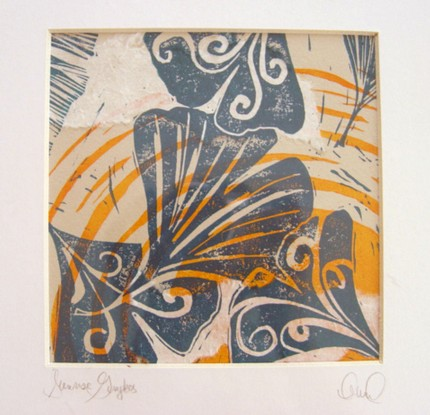 Sunrise Ginkgos (linocut with chine cole)