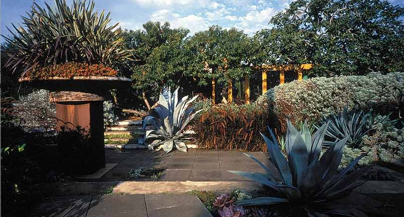 The landscaping takes texture, color, and site-specific design into consideration.