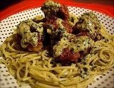Creamy Pesto Spaghetti with Meatballs