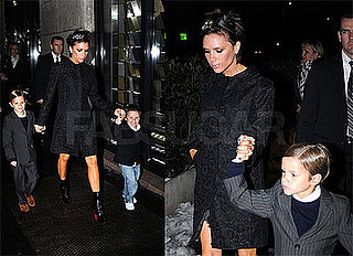 Victoria Beckham In Milan Wearing Black Coat, Christian Louboutin Boots, and Crystal Headband