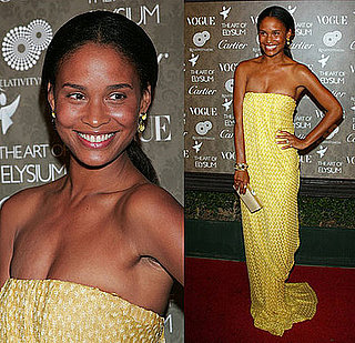 Joy Bryant in a Yellow Missoni Maxi Dress at the The Art of Elysium Gala