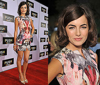 Camilla Belle in Alexander McQueen Printed Mini Dress at Push Premiere in LA