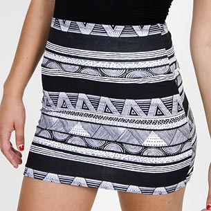 Printed Cotton Spandex Jersey Mini Skirt