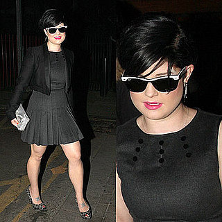 Kelly Osbourne in a Tailored Dress, Leopard Pumps, and Black and White Ray Bans